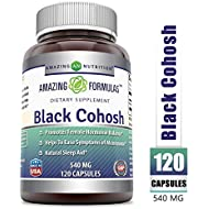 Amazing Formulas Black Cohosh, 540mg Supplement with Pure Root Extract All Natural Support for Womens Health and Well-Being 120 Capsules