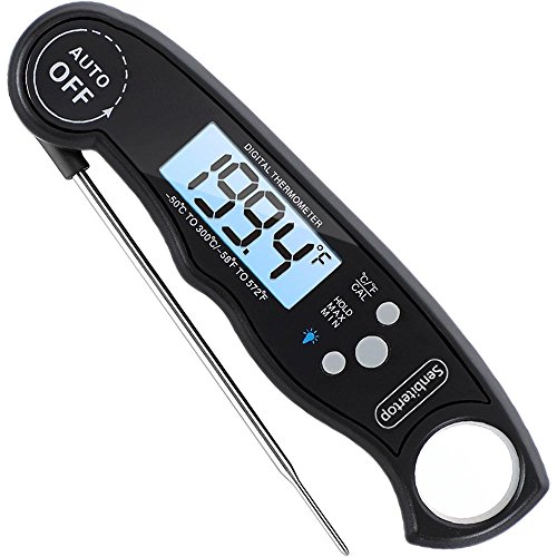 Digital Meat Thermometer,Splashproof Meat Thermometer,Instant Read Thermometer with Back Lit Display,Fordable Long Probe for Food, Candy, Milk, Tea, BBQ Grill Smokers