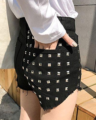 Mujer Calientes Pantalones Cortos Shorts De Mezclilla Jeans Shorts Cintura Alta Negro