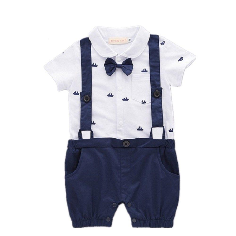 Hooyi Baby Boy Clothes Gentleman Boat Romper Overall Bow Suit Bodysuit