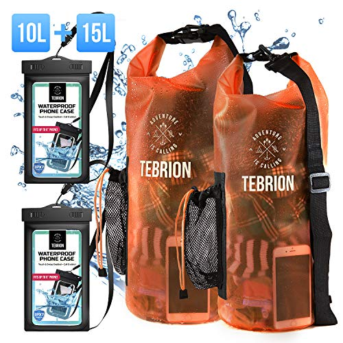 TEBRION 10L / 10L+15L Waterproof Dry Bag with Waterproof Phone Case Set Roll Top Sack Keep Gear Dry and Safe Perfect for Kayaking, Rafting, Boating, Hiking, and Fishing, Orange Sunset PVC