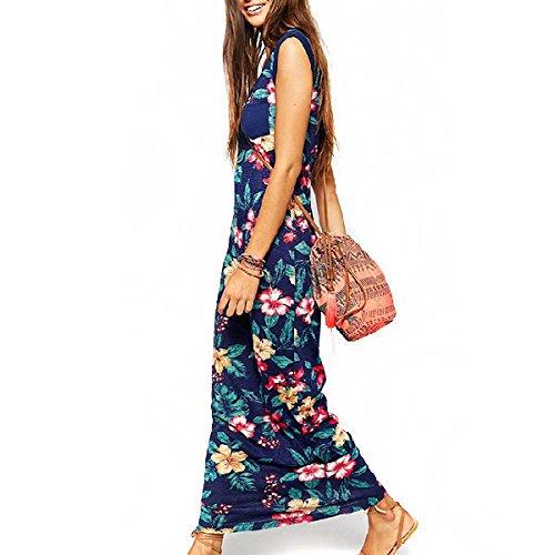 HanLuckyStars 2016 Nuevo Vestido de Paño Impresión Floral Cómodo Elegante Moda, Vestido de Casual Verano Playa Largo de Estilo Bohemio sin Mangas para Mujer ...