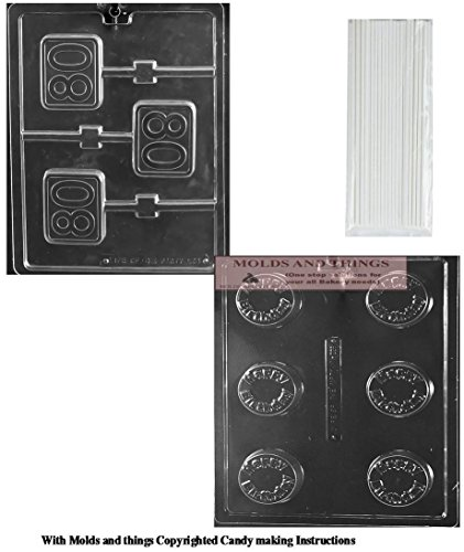 Number 80th Square Lolly chocolate candy mold, Happy Birthday cookie Chocolate candy mold with Copyrighted molding Instructions +50 sticks