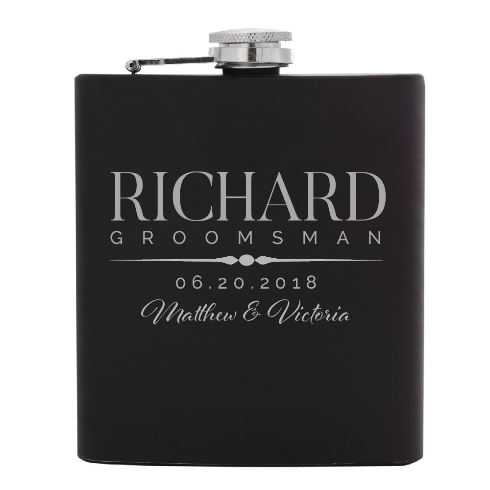 Personalized Flask For Wedding Groomsmen Gift, Customized Flask Set FREE Personalization - Laser Engraved - Design -5   1pc