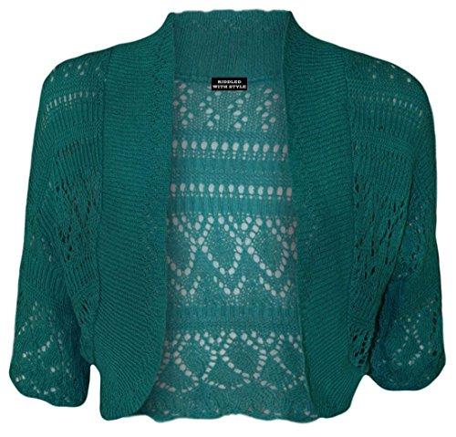 CROCHET Turquoise UK16 WICKEDFASHIONS123 20 FEMMES GRANDES vert BOLERO GILETS TAILLES FEMMES CARDIGAN HAUT NEUF Bleu TRICOT Oqg7qIHw