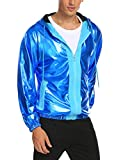 JINIDU Mens Metallic Nightclub Style Hooded Varsity Baseball Bomber Jacket