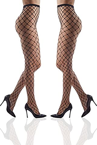 Set of 2 Crystallized Tights Sparkly Pantyhose With Rhinestones Shimmery Fishnets (Small/Medium, Black, Large mesh)
