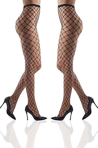 Set of 2 Crystallized Tights Sparkly Pantyhose With Rhinestones Shimmery Fishnets (Small/Medium, Black, Large (Black Sparkly Dance Costumes)