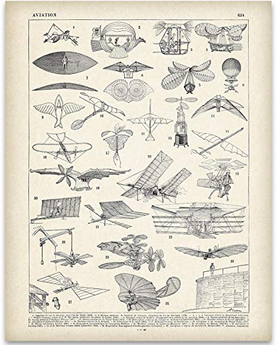 viation Illustration - 11x14 Unframed Art Print - Great Gift for Aviation Geeks ()
