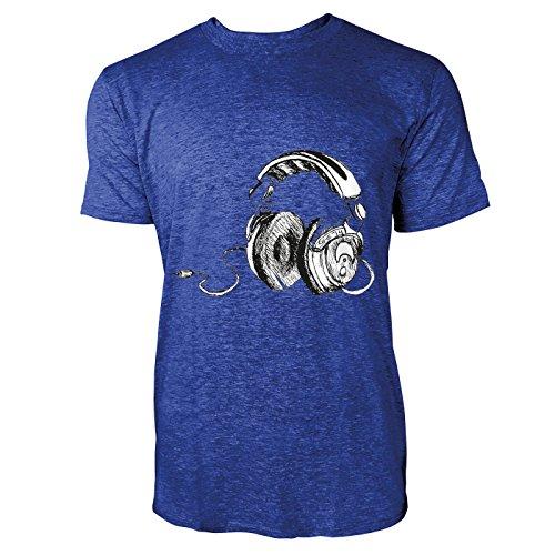 SINUS ART® Kopfhörer Zeichnung Herren T-Shirts in Vintage Blau Cooles Fun Shirt mit tollen Aufdruck