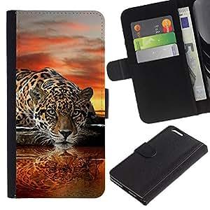 "Apple (5.5 inches!!!) iPhone 6+ Plus , la tarjeta de Crédito Slots PU Funda de cuero Monedero caso cubierta de piel ("" Leopard Water Mirror Art Sunset Big Cat"")"