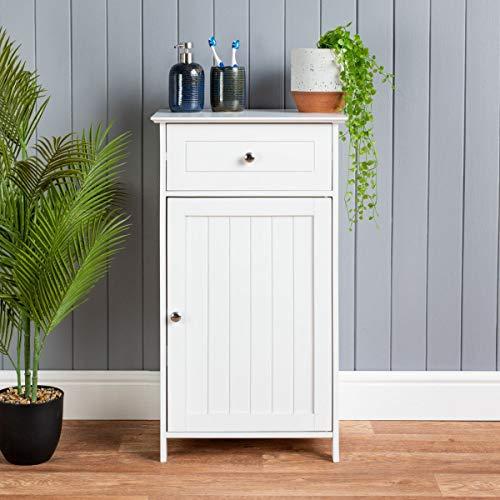 Saxony One Door One draw free standing White wood Bathroom Cabinet 43x34x77cm