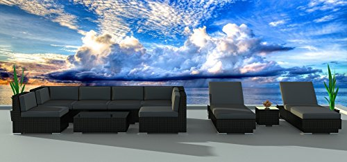 Urban Furnishing.net - BLACK SERIES 10a Modern Outdoor Backyard Wicker Rattan Patio Furniture Sofa Sectional Couch Set (Urban Patio Garden)