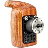 NICEYRIG Rosette Wooden Handle Grip (M6 Thread Diameter 31.8mm) Applicable Nikon Compatible with Canon Camera Cage Shoulder Mount Support Rig (Left Side)