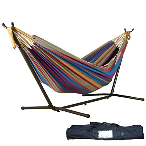 Price comparison product image Leewos 78'' x 59'' Outdoor Double Hammock Patio Yard Beach Space-Saving Steel Stand Bed up to 450lbs Capacity with Portable Carrying Case (Tropical)