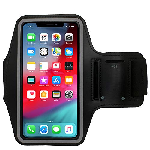 Water Resistant Cell Phone Armband Running Sports Case for iPhone Xs, X, 8, 7, 6S, 6, SE, 5S, 5C, 5, iPod Touch - Adjustable Band, Reflective with Screen Protection