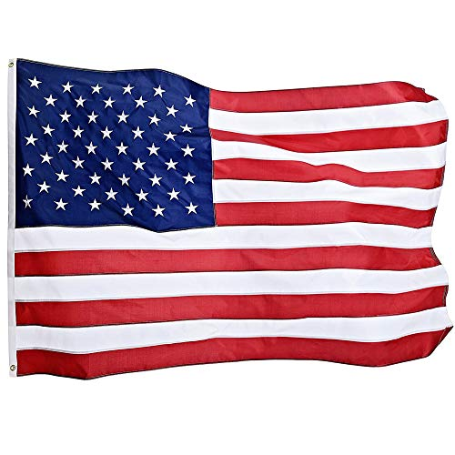 Jetlifee American Flag 4X6 Ft by U.S. Veterans Owned Biz. Heavyweight Nylon Embroidered Stars Sewn Stripes and Brass Grommets US Flag. All Weather Outdoors Indoors USA Flag 4 X 6 Foot by Jetlifee
