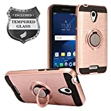 For Alcatel Verso, IdealXcite, CameoX 5044R, Alcatel Raven LTE A574BL, Alcatel U50 5044S - Hybrid Hard Case w/Ring Stand + Tempered Glass - Black/RoseGold