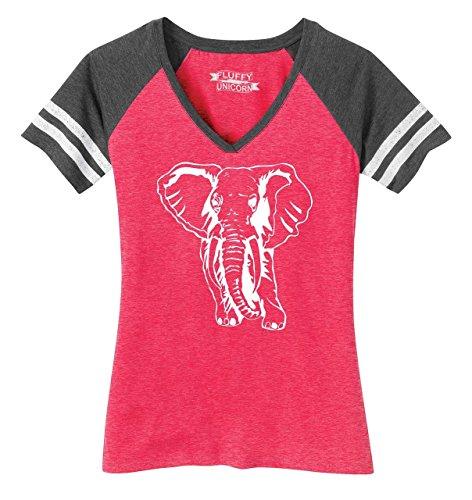 Ladies Elephant - Comical Shirt Ladies Game V-Neck Tee Elephant Heathered Watermelon/Heathered Charcoal S