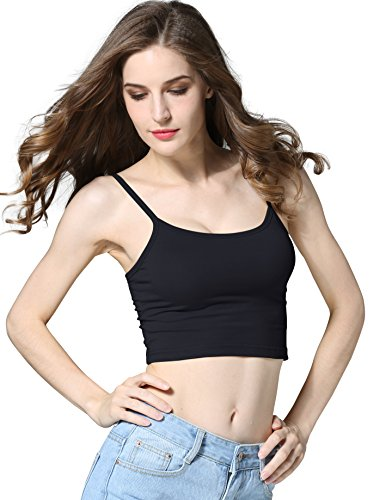 CUNLIN Crop Top Cami Camisole Summer Women Sexy Slim Sleeveless Spaghetti Strap Tank Top Black M