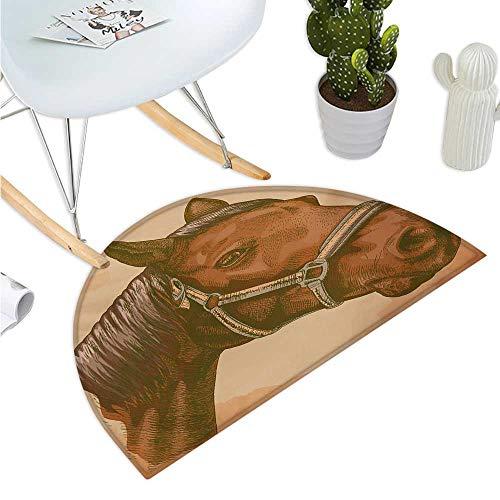Animal Semicircular Cushion Engraving Illustration of Detailed Hand Drawn Horse Head Retro Style Image Halfmoon doormats H 27.5