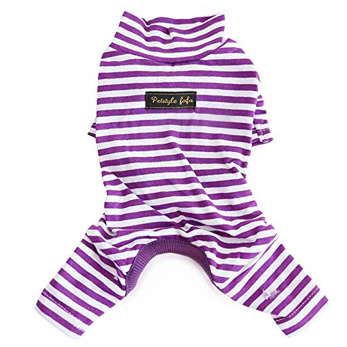 Hdwk&Hped Soft Cotton Dog Pajamas, Purple Stripes Small Dog Puppy Cat Bottoming Jumpsuit Style #2