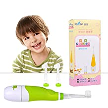 Baby Electric Toothbrush,Ckeyin Latest Style Battery Operated Waterproof Sonic Electric Toothbrush With LED Light +[3x Replaceable Brush Heads],Perfect for Children Toddler 0-4 Years Old