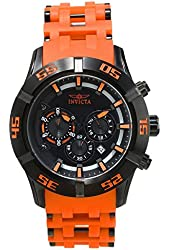 Invicta Men's Sea Spider Orange Polyurethane Band Steel Case Quartz Black Dial Analog Watch 21822