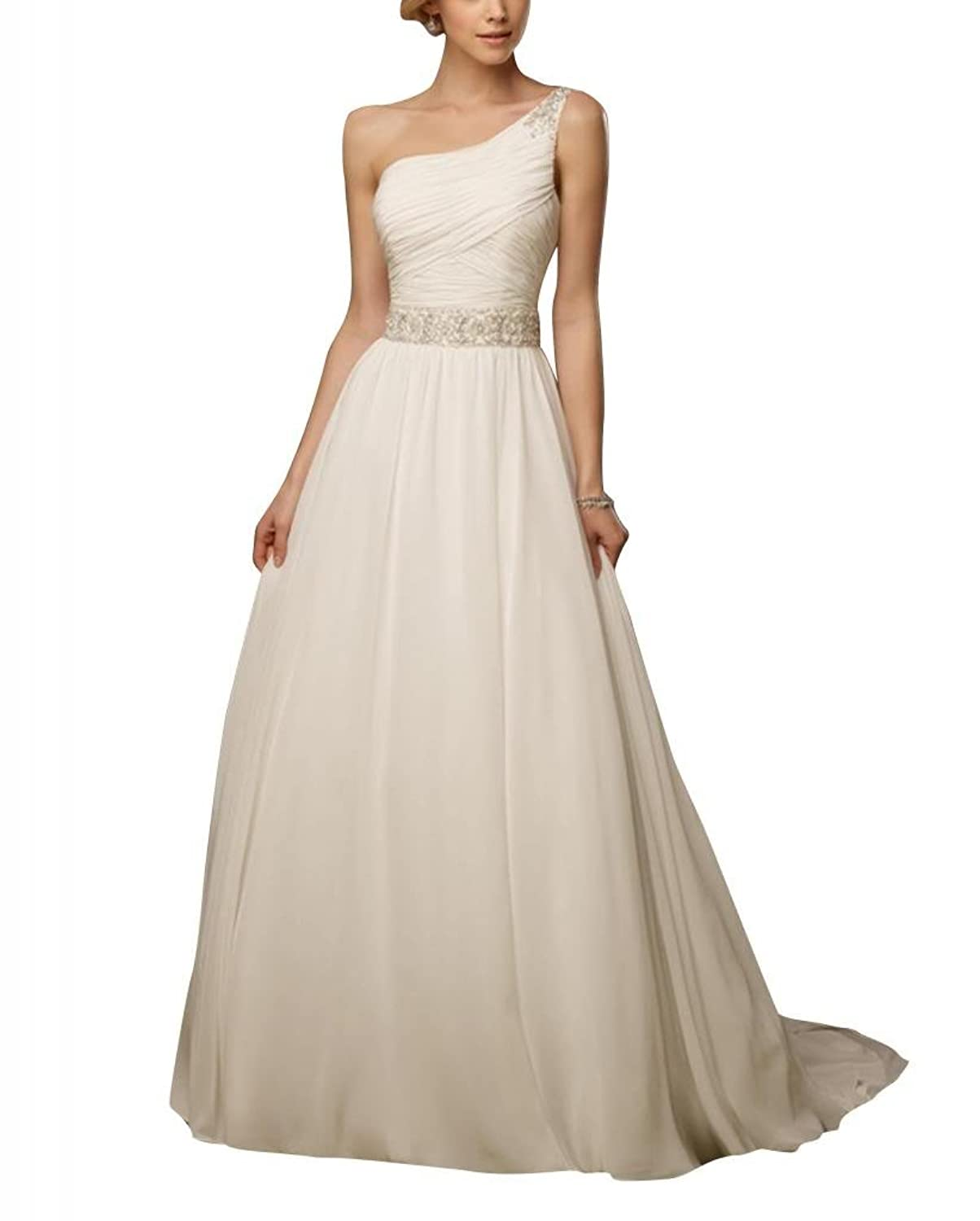 GEORGE BRIDE A Line One Shoulder Natural Waistlne Chapel Train Wedding Dress With Beaded Band
