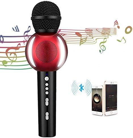 Karaoke micrófono Wireles en ratón Bluetooth altavoz micrófono con 2600 mAh 3 en 1 portátil KTV micrófono para Apple Iphone Smartphone Android PC Smart TV hogar KTV (rojo): Amazon.es: Instrumentos musicales