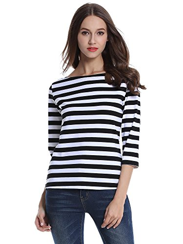 Wide Striped Shirt (MsBasic Women's 3/4 Sleeve Boat Neck Striped Relax Fit Tee Shirts (Large, MS6310-3))