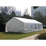 U-LALA 32'D x 20'W/ 32'D x 16'W Heavy Duty Outdoor White Wedding Party Tent Carport Canopy with Sidewalls (32' L 16' W)