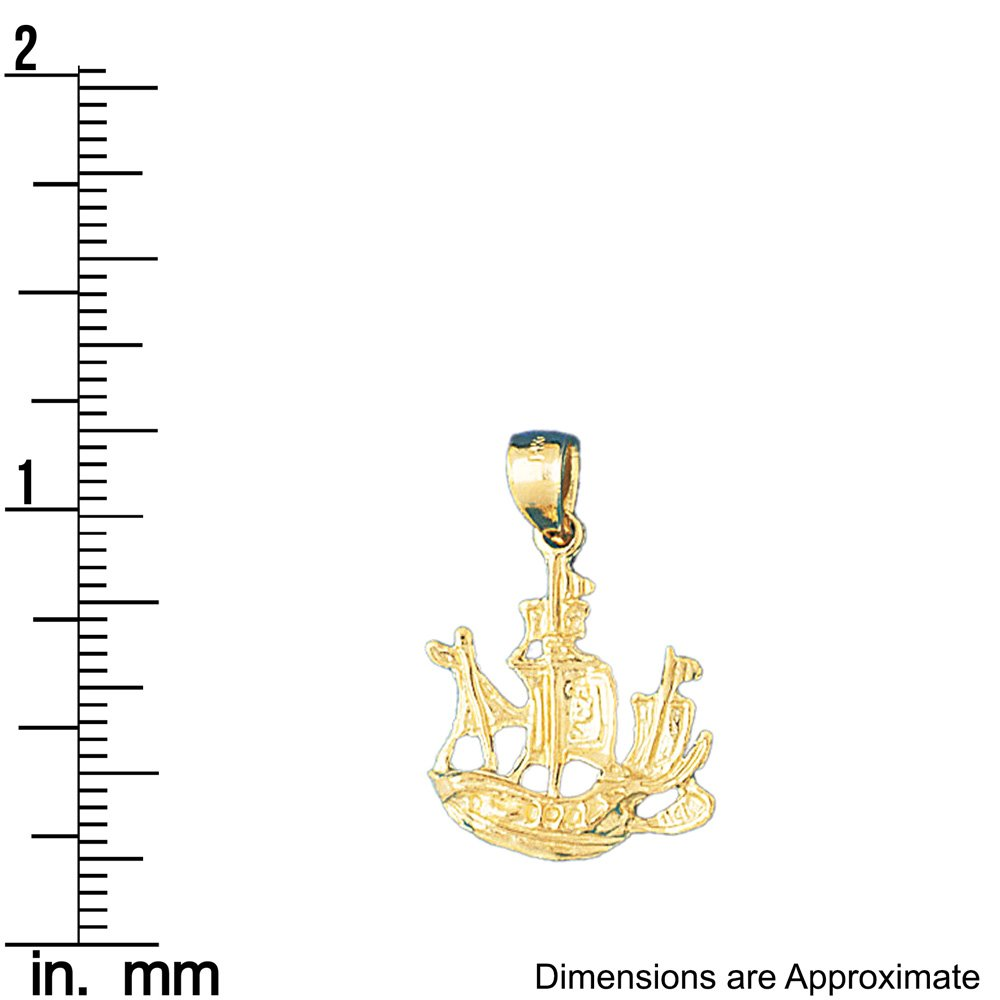 14k Yellow Gold Pirate Ship Pendant 17mm x 25mm