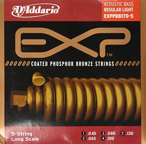 D'Addario EXPPBB170-5 5 Phosphor Bronze Coated 5-String Acoustic Bass Strings, Long Scale, 45-130 ()