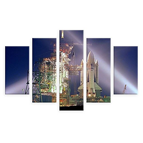Alonline Art - Cape Canaverals Rocket by Split 5 Panels   print on wall sticker vinyl decal (Rolled)   39