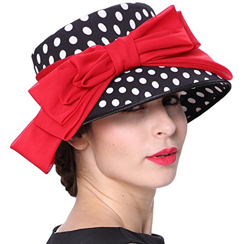 (JUNE'S YOUNG Women Hat Formal Dress Hat Chiffon Fabric Feather Polka Dot Red Bow)