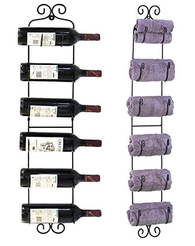 Garain Iron Wall Mounted Wine Towel Hat Rack, 6 Bottles Multi-Purpose Display by Garain (Image #6)