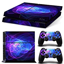 UUShop Ps4 Designer Skin Decal for PlayStation 4 Console System and PS4 Wireless Dualshock Controller - Blue Purple Lines