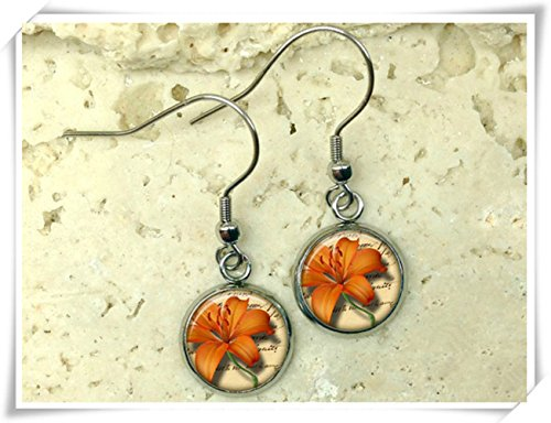 Elf House Orange tiger lily earrings, lily earrings, tiger lily drop earrings, Dome glass products, hand - -