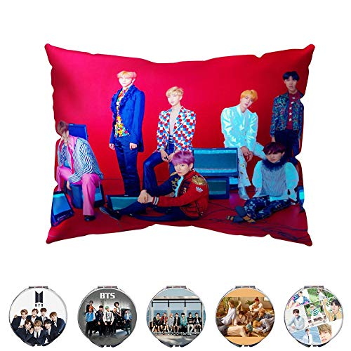 Youyouchard BTS Love Yourself 結 Answer Kpop BTS Pillow Case BTS Bangtan Boys Double-Sided Love Yourself Pillow Cover and A Makeup Mirror with Random Colors(Version S)