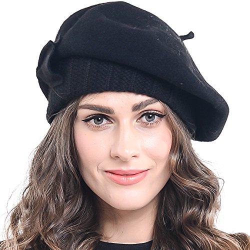 Z&s Women Wool Beret Knit Cap with Bow (Black)