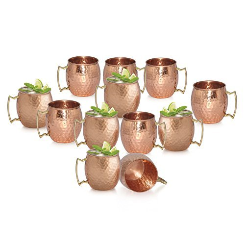 Dungri India Moscow Mule Copper Mug - Premium 100% Solid Copper Cup -16 oz - Best Handcrafted Hammered Copper Mug for Moscow Mules- Set of 12