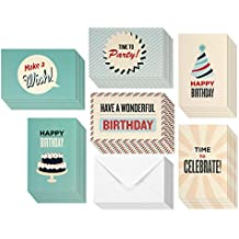 Birthday Card - 48-Pack Birthday Cards Box Set, Happy Birthday Cards – Retro Birthday Designs Birthday Card Bulk, Envelopes Included, 4 x 6 Inches