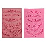 OHYESS DIY 3D Flower Vine Feather Lace Cake Mold Chocolate Cookies Icing Baking Silicone Fondant Mold