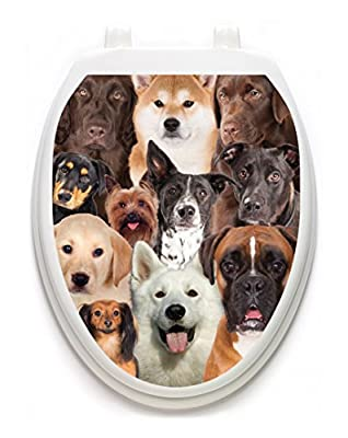 Toilet Tattoos, Toilet Seat Cover Decal, Dogs Galore, Size Elongated