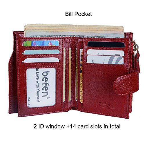 Wallet For Multi Genuine Full Befen Burgundy Holders Luxury Blocking Grain Leather Ladies Small Bifold Trifold Rfid Organizer Card Women's PqxPwvZ