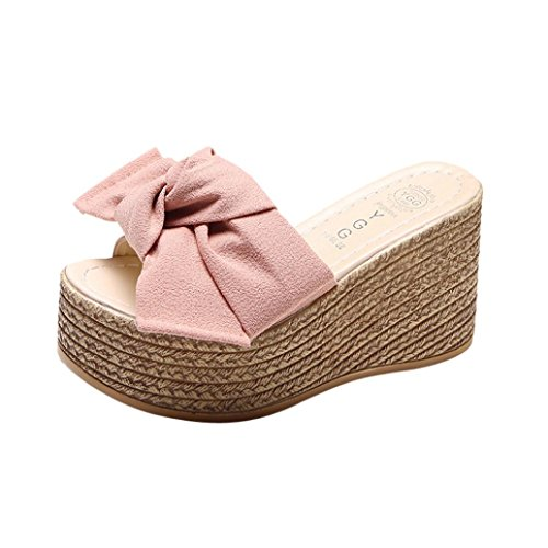 Clearance Universal Bohemia Platform Sandal for Women, Junior Girl Flip-Flop Bowtie Strap Slip on Comfort Wedge High Heel Espadrille Sandal Trendy Casual Summer Shoes (Size 6.5, ()
