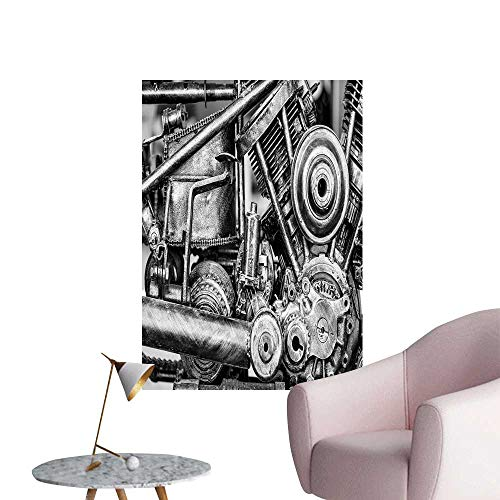 SeptSonne Wall Painting Motorcycle Engine Block Black Whit Tone Monochrome Selective Focus High-Definition Design,32