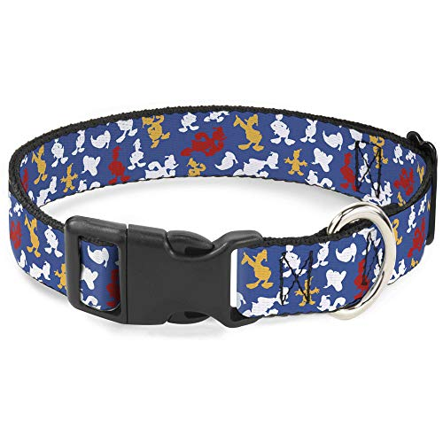 Dog Collar Plastic Clip Donald Duck Face Poses Scattered Blue White Red Yellow 9 to 15 Inches 0.5 Inch - Duck Face
