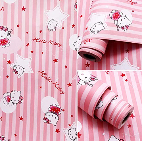 (FSLUCKY Pink Hello Kitty Cartoon Wallpaper Waterproof Children's Room Student Dormitory Wall Sticker (0.45mX10M))